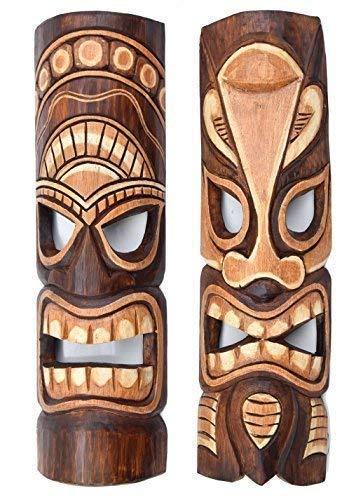 2 Tiki Máscaras 50cm IM HAWAI Estilo SET DE DOS MÁSCARAS DE MADERA Máscara de pared Isla De Pascua