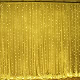 slashome Ucharge Led Curtain Icicle Lights 600led 19.8X9.8 feet 9 Modes Warm White Christmas Curtain String Fairy Lights for Wedding, Home, Garden, Party, Festival, Holiday Decorations
