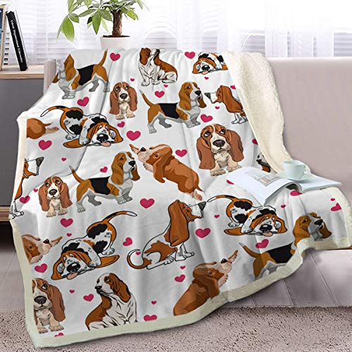 BlessLiving Red Hearts Dog Cat Print Plush Blanket Cute Puppy for Kids Adults 3D Animal Print Plush Blanket Gift for Pet Lovers (Basset Hound,Twin, 60 x 80 Inches)