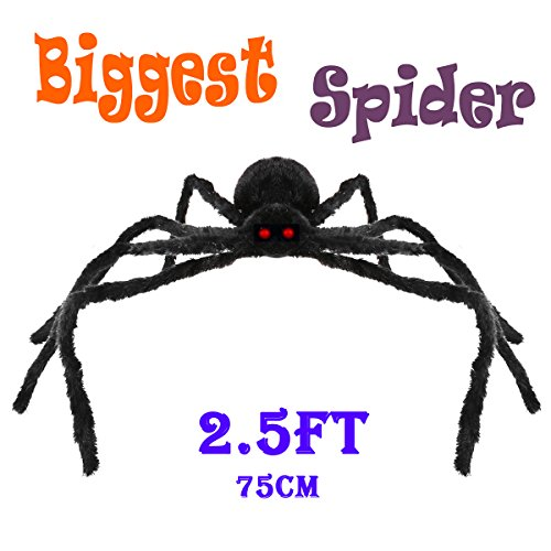2.5 FT Halloween Decorations Giant Halloween Spider Black Spider 75cm Large Spider Haunted House Prop Plush Spider Scary Decoration, Virtual Realistic Hairy Spider, Black (Large Halloween Spider Prop)