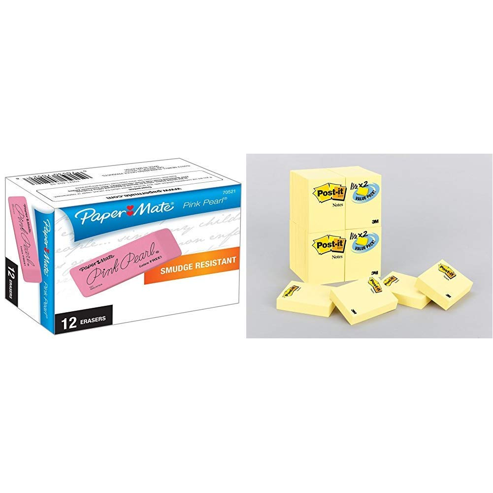 Paper Mate Pink Pearl Erasers 12 Count 2 Pack Large