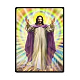 Jesus Blessing Christian Theme Soft Fleece Travel Blankets Throws - 58 by 80 Inch
