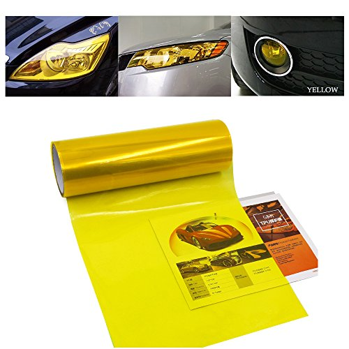- 1797 Car Light Tint Film Headlight Fog Light Taillight Yellow Tinted Vinyl Tail Back Color Sticker Self Adhesive Shiny Chameleon Accessories Parts 48''x12'' 1pc