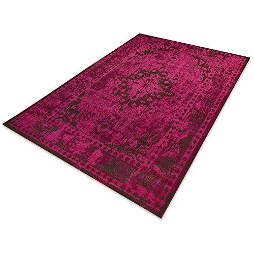 casa pura® Vintage Teppich | viele Größen | im angesagten Shabby Chic Look | für Wohnzimmer, Schlafzimmer, Flur etc. | pink (120x170 cm)