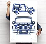 Jeep Wrangler JK Art Print - 5 Colors Available (Blue, 18x24)