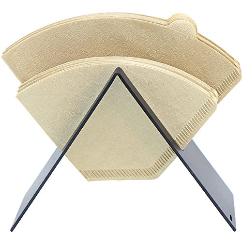 Stainless Steel Coffee Filter Holder Coffee Paper Storage Rack Coffee Filter Paper Container Stand Size 4 Filter Paper Holder (Black) (Coffee Filter Holder 2)