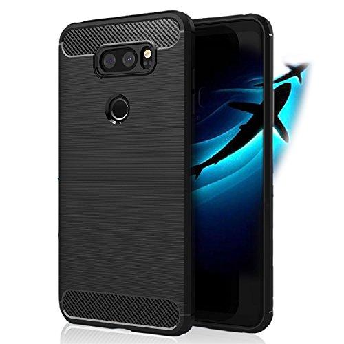 LG V30/LG V30S/LG V30 Plus Case - Hard TPU Protective Phone Cover - Slim & Flexible - Shockproof Anti-Slip Defender Case - Black