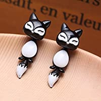 Vintage 3D Fox Animal Puncture Ear Stud Women Charm Piercing Earrings Jewelry ERAWAN (Black)