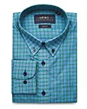 Collar Tales Men's Checkered Superfine Cotton Slim Fit Narrow Collar Button Down Long Sleeve Multi-Check Dress Shirt with Pocket- Green, Blue & Black