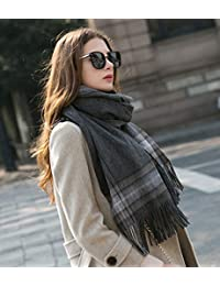 nwn Scarf Female Winter Thick Section Korean Version of The Wild Long Paragraph Fresh Knitted Plaid Double Shawl (Color : D)