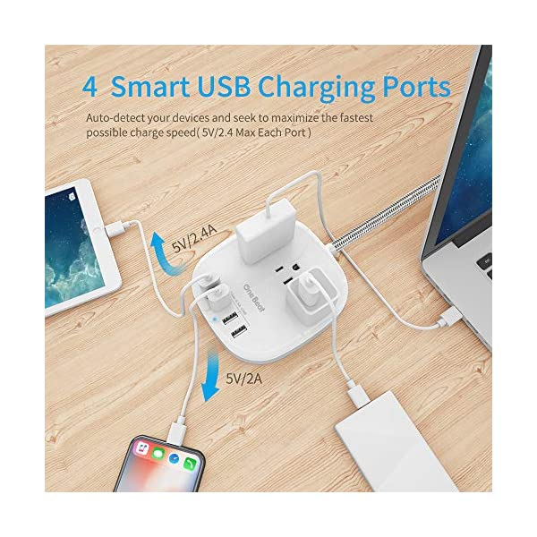 Power Strip 2 Pack, Desktop Charging Station with 3 Outlet 4 USB Ports 4.5A, Flat Plug, 5 ft Long Braided Extension Cord for Cruise Ship Travel Home Office, ETL Listed, White 2