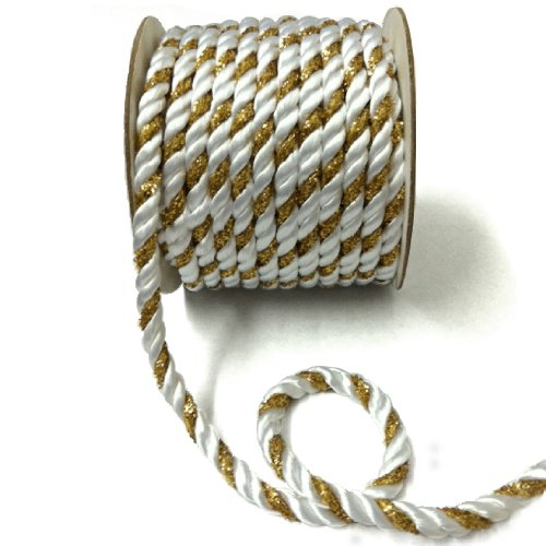 "UPC 608729278047, Metallic Twisted Cord 1/4"" Wide Gold/White 15 Yards"