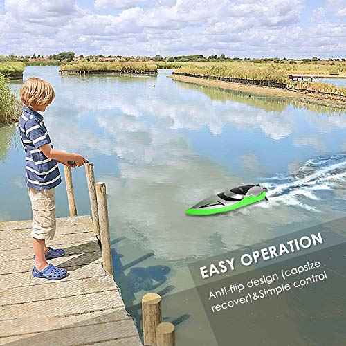 Remote Control Boat - SHARKOOL H106 Rc Self Righting Racing Boats for Boys & Girls, 2.4Ghz High Speed Remote Control Boat Toys for Kid(Green)