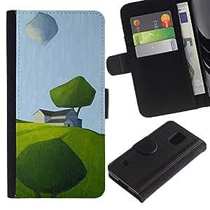 SAMSUNG Galaxy S5 V / i9600 / SM-G900 Modelo colorido cuero carpeta tirón caso cubierta piel Holster Funda protección - Modern Art Painting Green Field Summer