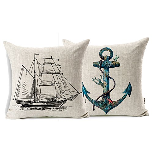YouYee Cotton Linen 2 Set of Throw Pillow Case Cushion Cover
