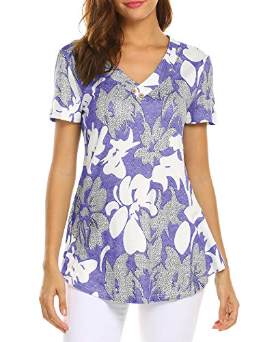 Sweetnight Women Casual Shirts V Neck Printed Loose Fit Blouse Flared Tunic Tops Purple M