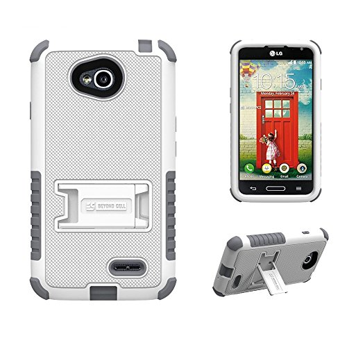 ([Dirtproof] High Impact Armor Hybrid Hard + Soft Rugged Phone Case with 3 Layers of Protection & built in kickstand for LG Optimus L70 (Metro PCS)/ LG Realm LS620 (Boost Mobile) - White/Gray - FREE Screen Protector & Retail Packaging)