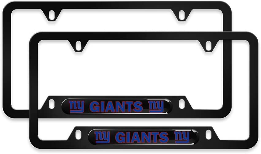 SOOPTY 2pcs NFL Logo License Plate Frames with Screw Caps Set Stainless Steel Frame Applicable to US Standard Cars License Plate Kansas City Chiefs