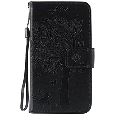 G386F Case, Galaxy Avant G386 Case, Love Sound [Cat Tree Butterfly/Black] [Wrist Strap] Luxury PU Leather Wallet Case Flip Cover Built-in Card Slots Stand for Samsung Galaxy Core LTE 4G (Samsung Galaxy Core Lte Case G386)