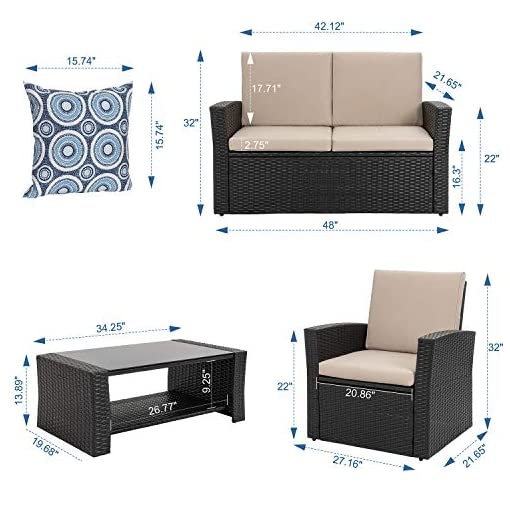 Garden and Outdoor Shintenchi 4-Piece Outdoor Patio Furniture Set, Wicker Rattan Sectional Sofa Couch with Glass Coffee Table | Black patio furniture sets
