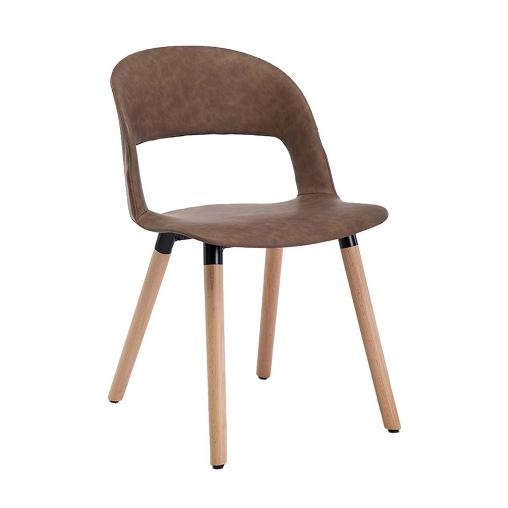 Oil wax leather brown Nordic Solid Wood Dining Chair,Modern Creative Leisure Chair, PP Plastic Makeup Stool,for Restaurant Pub Cafe Living Room Bedroom