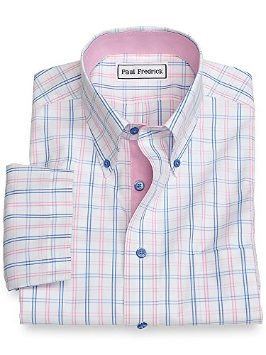 Iron Paul Fredrick Non (Paul Fredrick Men's Slim Fit Non-Iron Short Sleeve Blue/Pink 16.0)