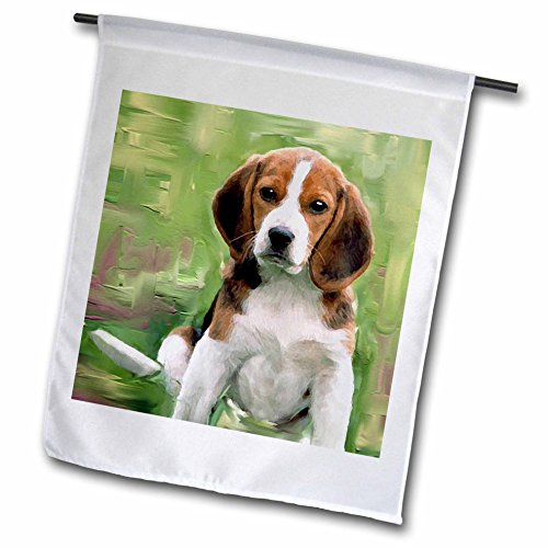 Beagle Garden Flag - 3dRose fl_4020_1 Beagle Puppy Garden Flag, 12 by 18-Inch