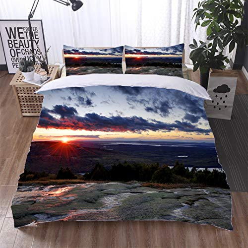(HOOMORE Single-Sided Pattern Custom Polyester Bed Cover - 3-Piece Duvet - All Seasons, depict - Sunrise View from Cadillac Mountain Acadia National Park Maine-Full)