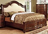 European King Bed Frame Furniture of America Averia Traditional Platform Bed, Eastern King, Brown Cherry