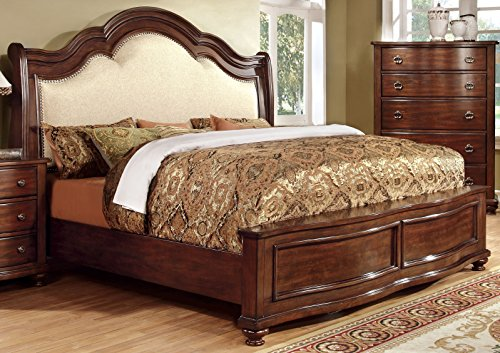 [Furniture of America Averia Traditional Platform Bed, Eastern King, Brown Cherry] (Traditional Platform)