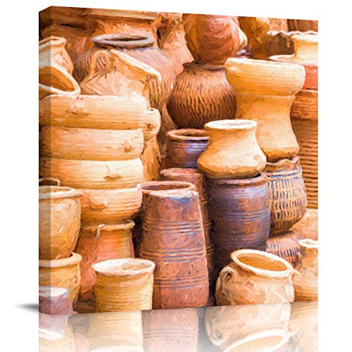 BULING Canvas Wall Art Canvas Street Pottery Shop Oil Painting 20x20 inch Artwork Prints for Home Living Room Bedroom Wall Decor Framed Ready to Hang -