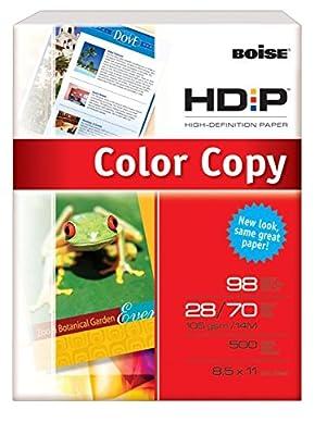 "Boise HD:P Color Copy Paper, 98 Bright, 500 Sheets/Ream, 8 1/2"" x 14"", 28 lb."