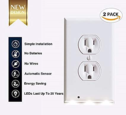 wall plate outlet cover led sensor night lights 2 pack by this old rh amazon com