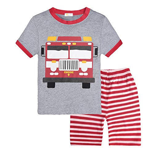 Little Hand Toddler Boys Cotton 2 Piece Pajama Fire Truck Sleepwear Short Sleeve Clothes Set, Fire Truck, 3-4 ()