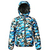 Rokka&Rolla Boys' Lightweight Reversible Water Resistant Hooded Quilted Poly Padded Puffer Jacket Blue Camo