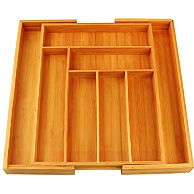 Bamboo Expandable Cutlery tray -Silverware & Drawer Organizer-8 compartment-by Utopia Kitchen
