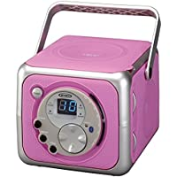 Jensen CD-555 Pink CD Bluetooth Boombox Portable Bluetooth Music System with CD Player +CD-R/RW & FM Radio with Aux-in…