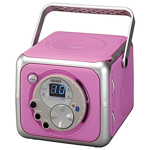 Jensen CD-555 Pink CD Bluetooth Boombox Portable Bluetooth Music System with CD Player +CD-R/RW & FM Radio with Aux-in & Headphone Jack Line-in Limited Edition (Pink) (Pink Cd Cover)