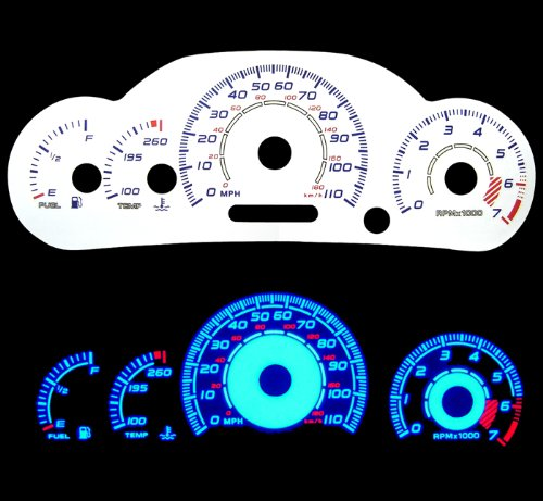 00-05 Chevy Cavalier w/ Tach Reverse White Gauges Blue indiglo kit