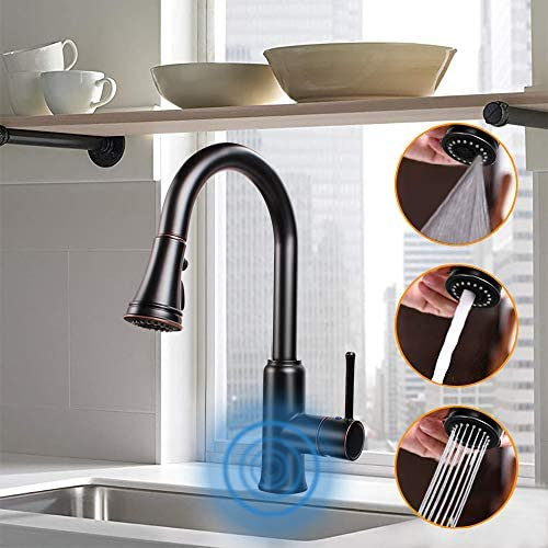 Touchless Kitchen Sink Faucets with Pull Down Sprayer, Kitchen Faucet with Pull Out Sprayer Single-Hole and 3 Hole Deck-Mount,3 Mode Single Handle Matte Black Easy to Install, Spot Resist