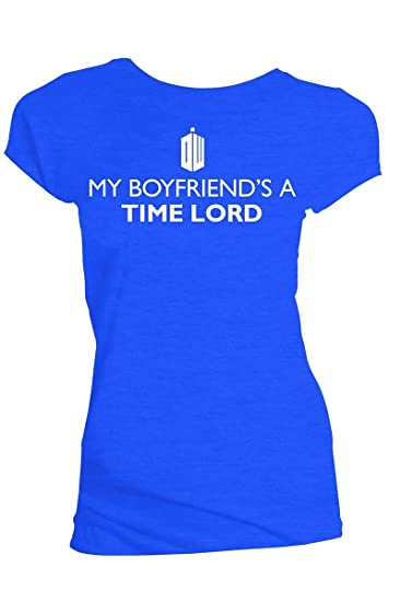 c7f52806677c Doctor Who Classic Womens T-Shirt My Boyfriend's A Time Lord Royal Blue Xs