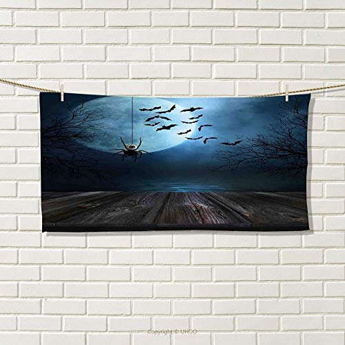 smallbeefly Halloween Travel Towel Misty Lake Scene Rusty Wooden Deck Spider Eyeball and Bats with Ominous Skyline Quick-Dry Towels Blue Brown Size: W 14