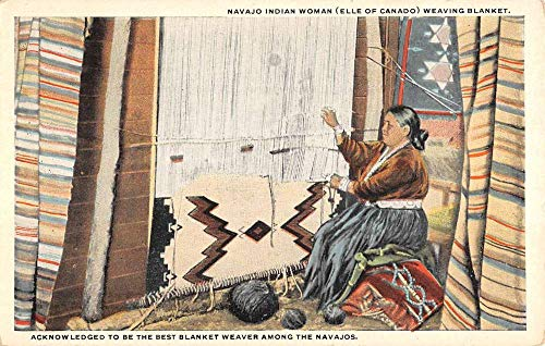 - Navajo Indian Woman Weaving Baskets Antique Postcard K431532