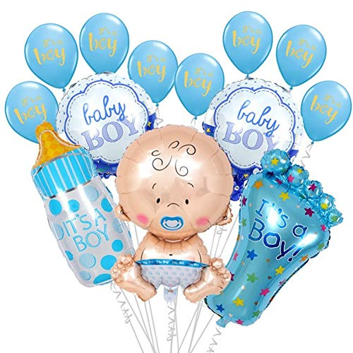 13pcsBaby Shower Decorations for Boy Its A Boy Foil Latex Balloon Set Large Baby Bottle Feet Balloon Baby Shower Birthday Helium Balloons Party Decoration Supplies