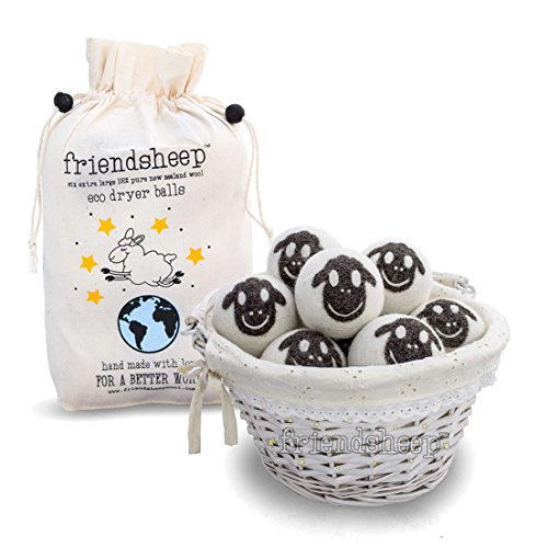 Friendsheep Organic Eco Wool Dryer Balls - 6 Pack - 100% Handmade, Fair Trade, Organic, No Lint - Premium Quality (Best Dryer Sheets For Pet Hair)