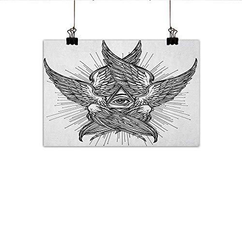 Littletonhome Eye Abstract Painting All Seeing Eye of Providence Hand Drawn Vintage Style Winged Angel Seraphim Inspired Natural Art 31