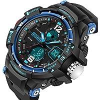 Reloj deportivo digital para niños para exterior, Watch Stopwatch Quartz Watch para niñas y niños, reloj de pulsera con alarma digital led., Azul