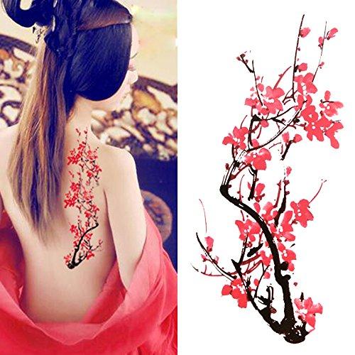 Oottati Tatouages Temporaires Couleur Fleur De Prunier (2 Feuilles)