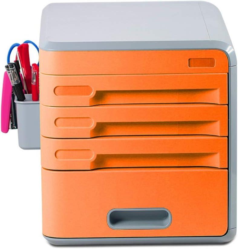 ファイルキャビネット シンプル引き出し型化粧ケース事務机デスクトップ文具学生寮の破片仕上げ収納ボックス オフィス収納 (Color : Orange)