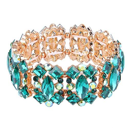 Rhinestone Green Bangle - EVER FAITH Women's Crystal Vintage Style Elegant Bridal Elastic Stretch Bracelet Green Gold-Tone